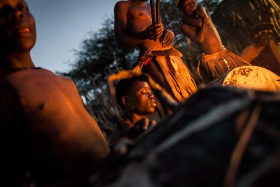 Zulu dancers around a fire in South Africa