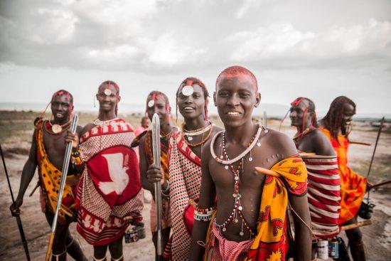 Maasai hunters, traditionally dressed, in Kenya