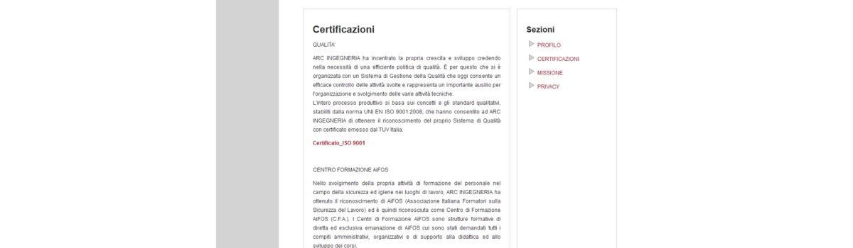 Showcase websites: alternative view 3. Arcingegneria