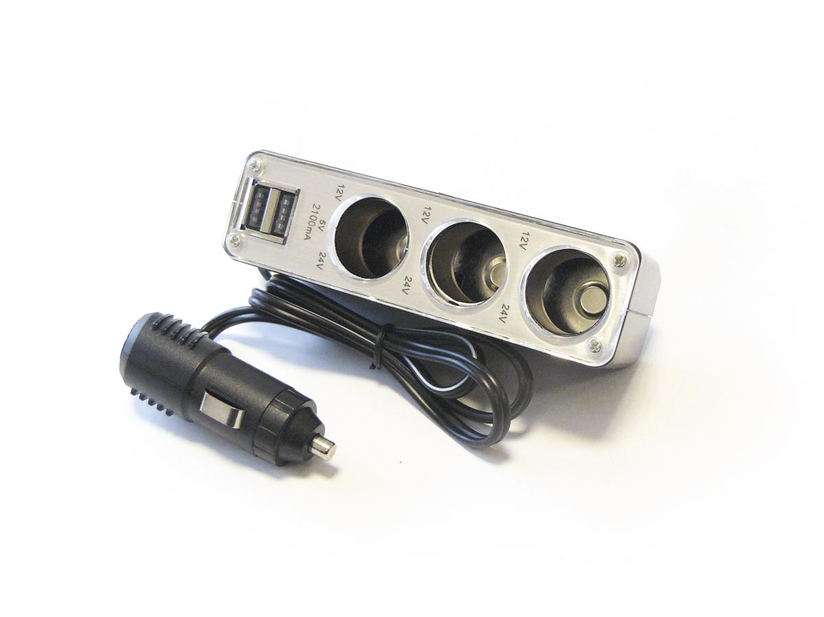 MAXMASTER CAR ROZGAŁĘZIACZ 3 GNIAZDA  + 2 USB