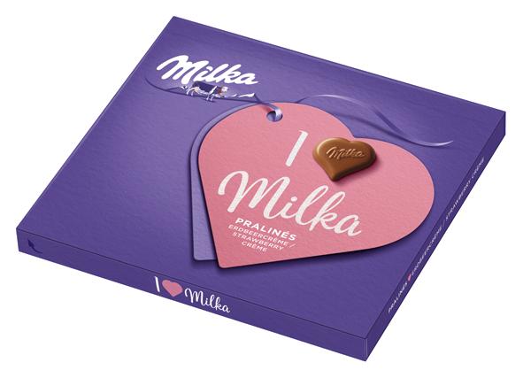 I love Milka 110g Erdbeer-Crème zum Valentinstag