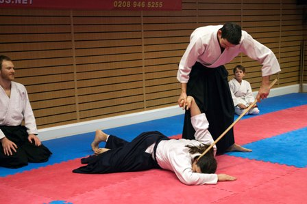 Aikido Class Demo an Attacker is Floored and Disarmed