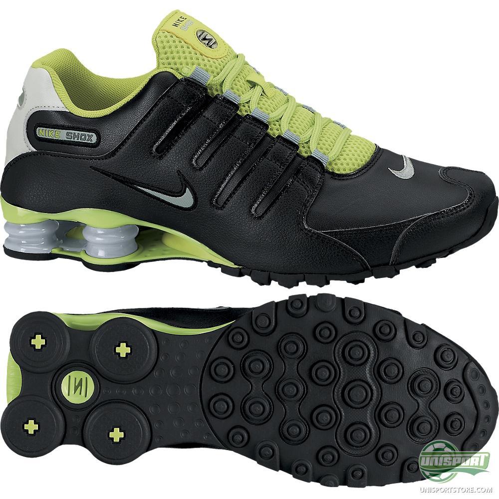 black and green nike shox