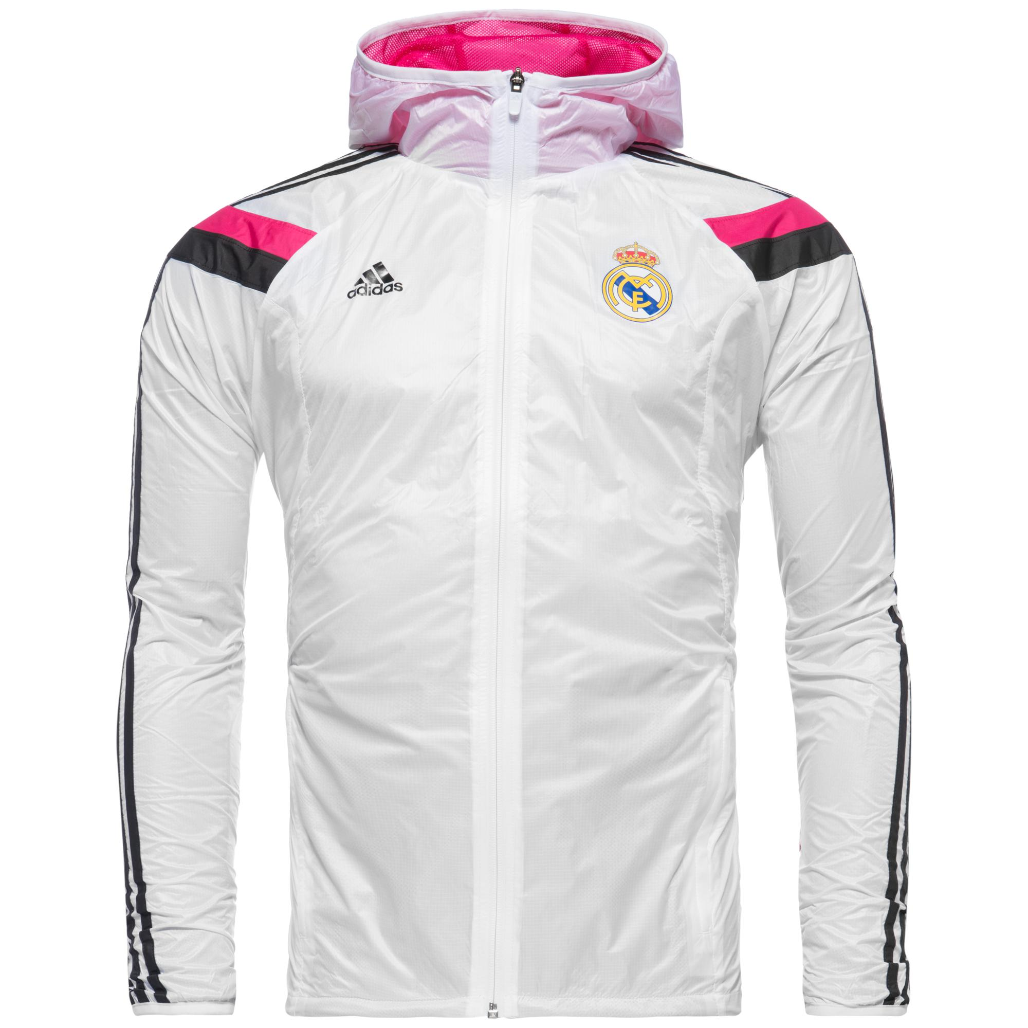 real madrid training jacket anthem white black pink. Black Bedroom Furniture Sets. Home Design Ideas