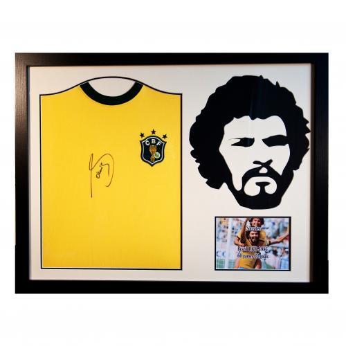 Brasilien Socrates Signerat Foto Tröja