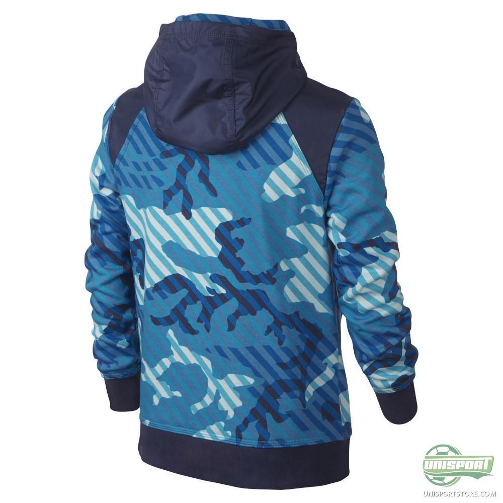 Nike - Hoodie Camo FT FZ Blue Lagoon/Obsidian/Bright Crimson Kids