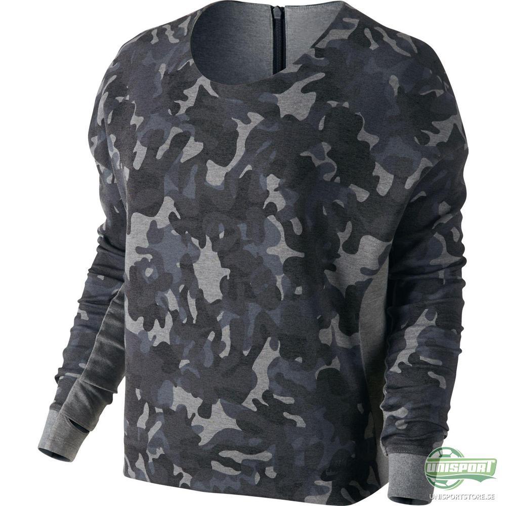 Nike Sweatshirt Tech Fleece Crew Camo Grå/Svart Dam