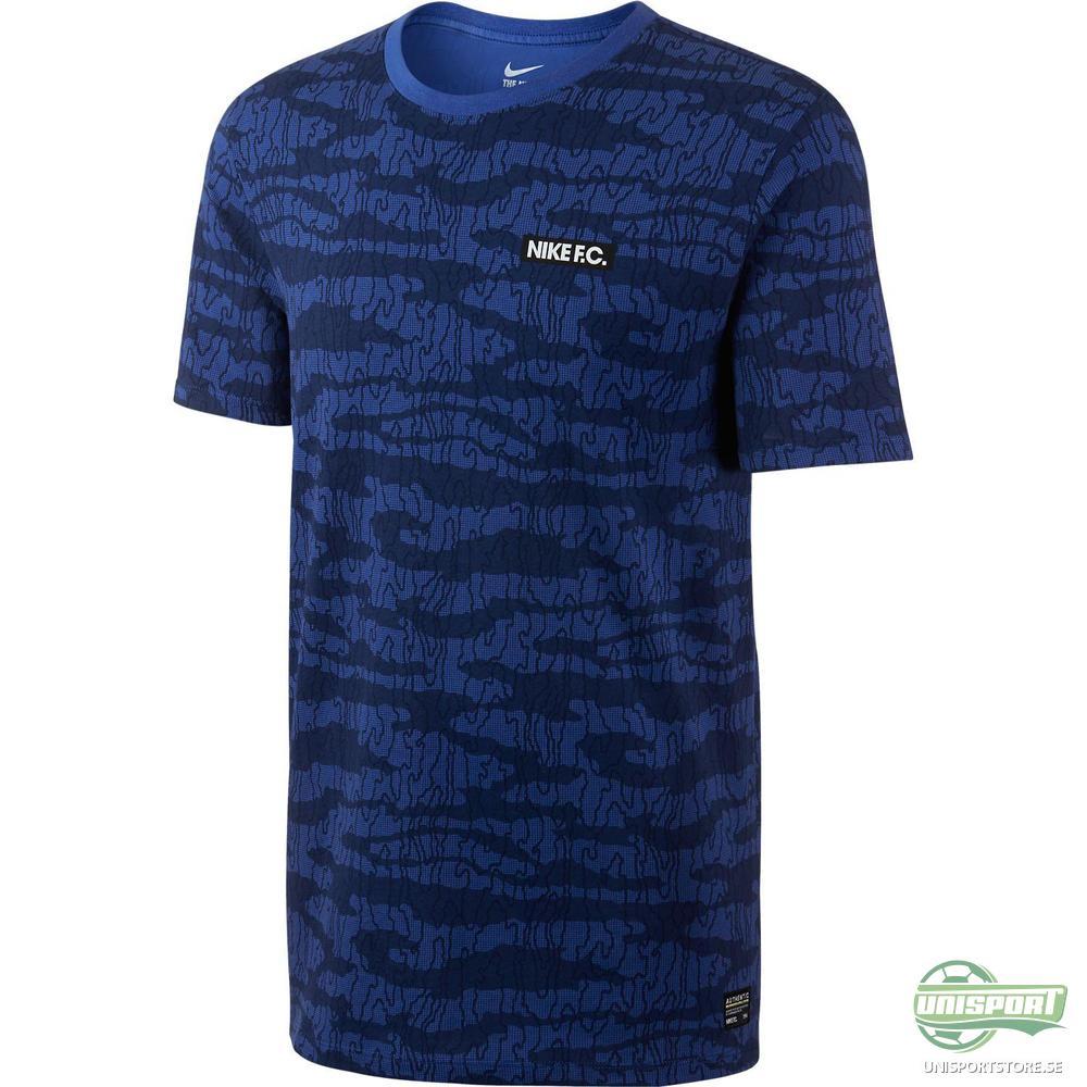 Nike F.C. T-Shirt AOP Camo Navy/Blå