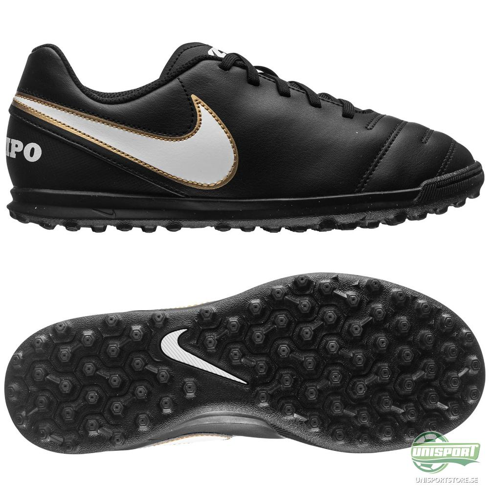 Nike Tiempo Rio III TF Svart/Vit/Guld Barn