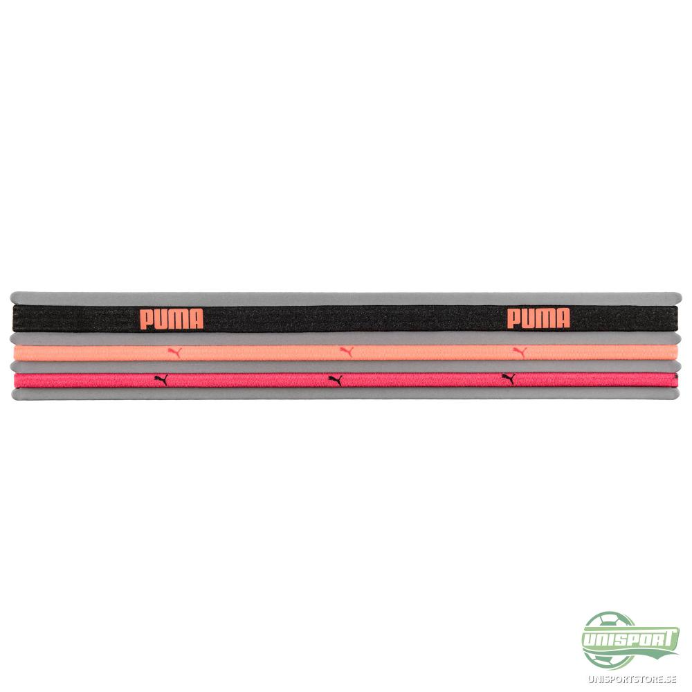 Puma Hårband 3-Pack Svart/Röd/Orange