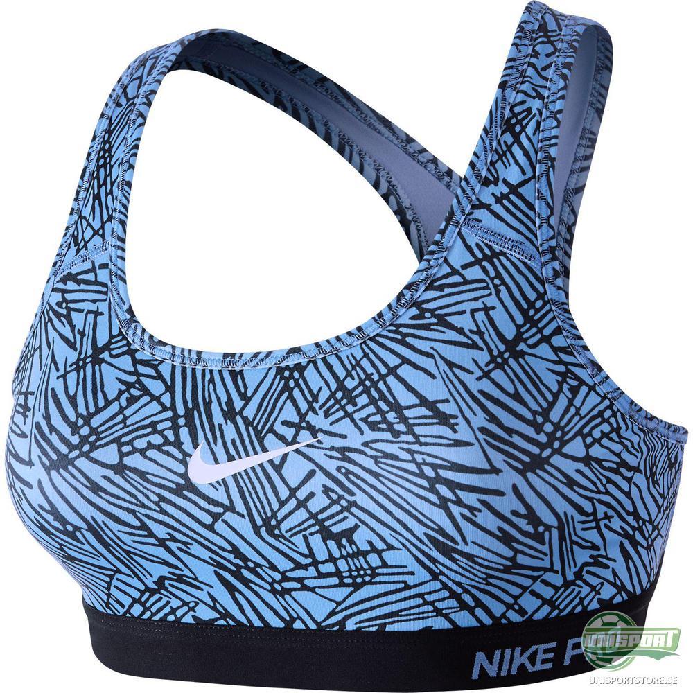 Nike Pro Classic Padded Palm Print BH Blå/Svart Dam