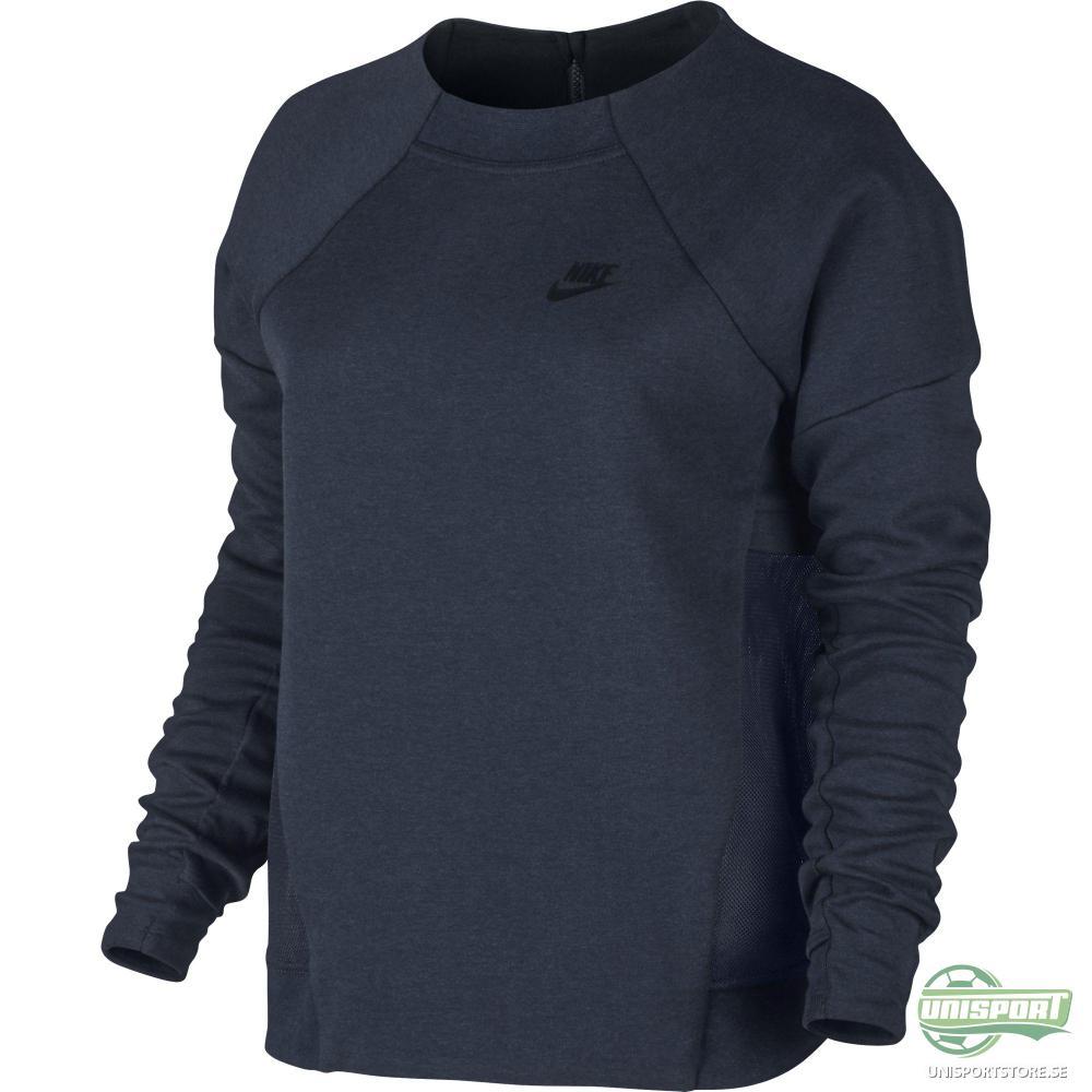 Nike Sweatshirt Tech Fleece Mesh Crew Navy/Svart Dam