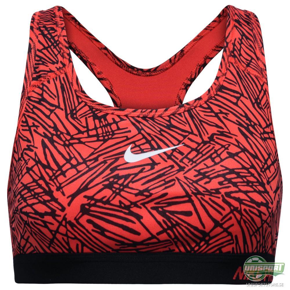 Nike Pro Classic Padded Palm Print Sports BH Röd/Svart Dam