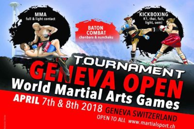 Geneva, Switzerland is the Internationally recognised World Martial Arts Games 7th-8th April 2018