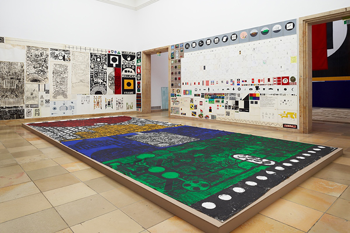 "Matt Mullican Installation view, ""Organizing the World"", Haus der Kunst, Munich, 2011 Courtesy the artist and Massimo De Carlo, Milan/London"