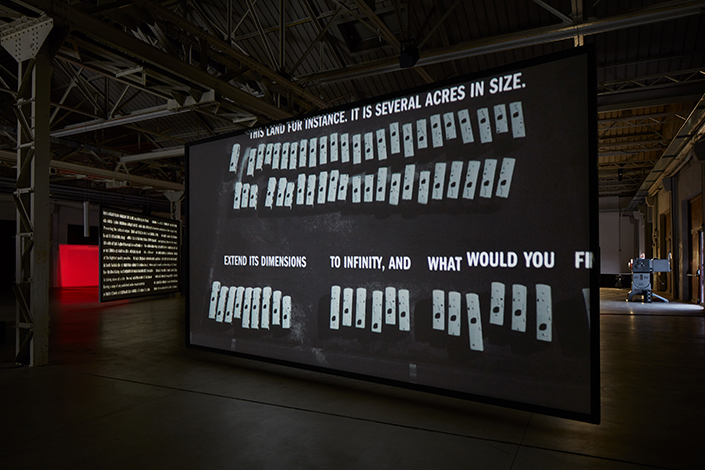 Rosa Barba, From Source to Poem to Rhythm to Reader, exhibition view at Pirelli HangarBicocca, Milan, 2017. Courtesy of the artist and Pirelli HangarBicocca, Milan. Photo: Agostino Osio