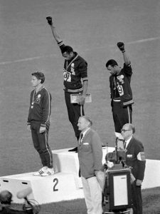 Tommie Smith and John Carlos make the Black Power salute at the 1968 Mexico City Olympics