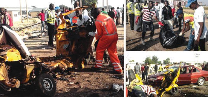 Scenes of the twin blasts which occurred in Maiduguri