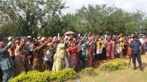 Women jubilating in Akure after the news of Jimoh Ibrahim's sacking was heard in Ondo