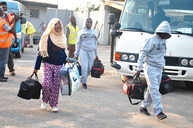 A Returnee among the batch of 171 Nigerians deported from Libya, Gift Peters, while narrating her ordeal said she had to drink urine as meal to survive.