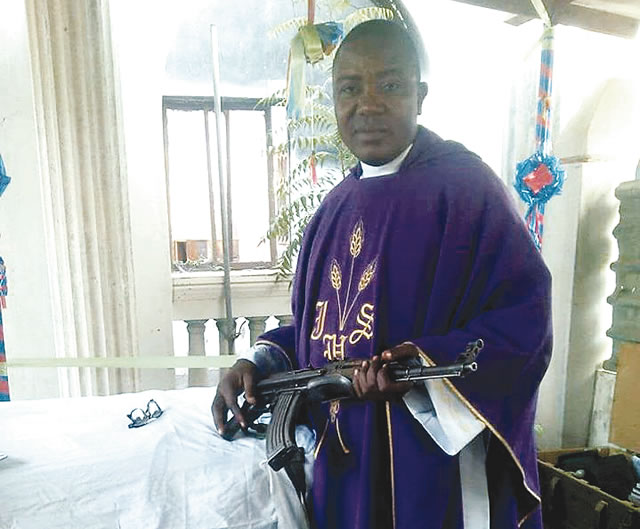 Image result for Reverend father in church poses with rifle