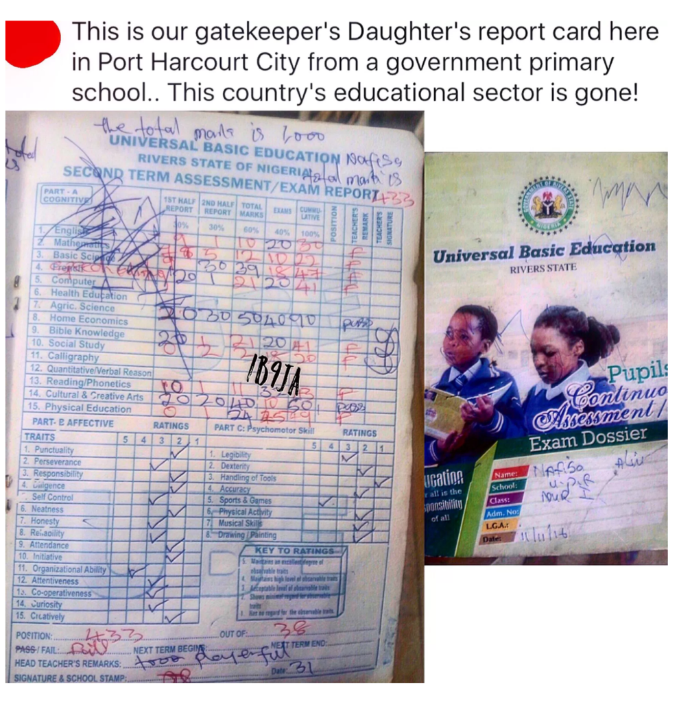 PHOTO: 'She is too playerful', teacher's comment highlights state of public schools