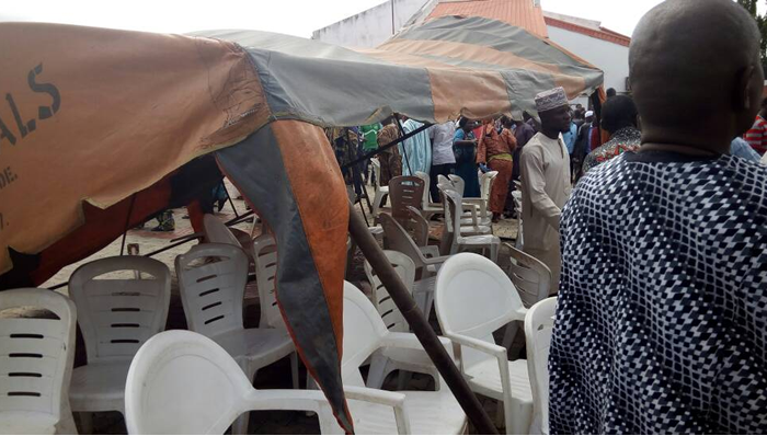Image result for Adeleke's burial: Angry mob collapses canopy on Amosun, Akeredolu, others