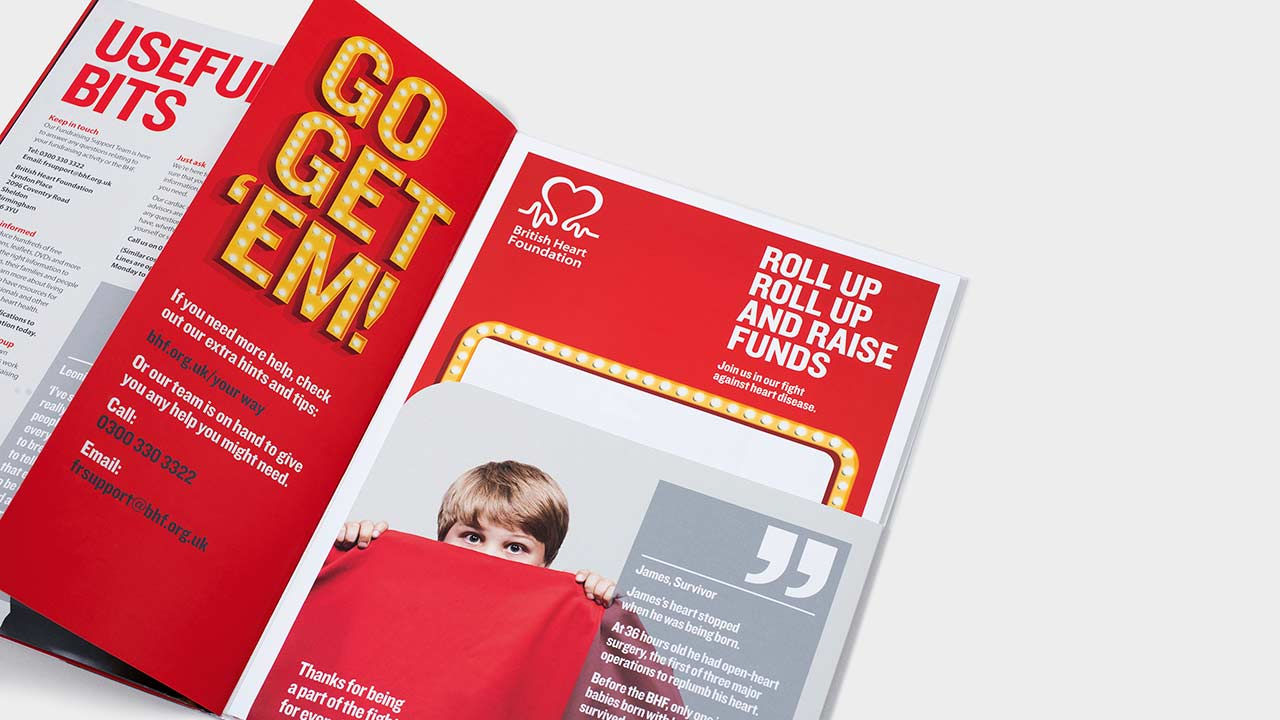 Fundraising print materials for British Heart Foundation