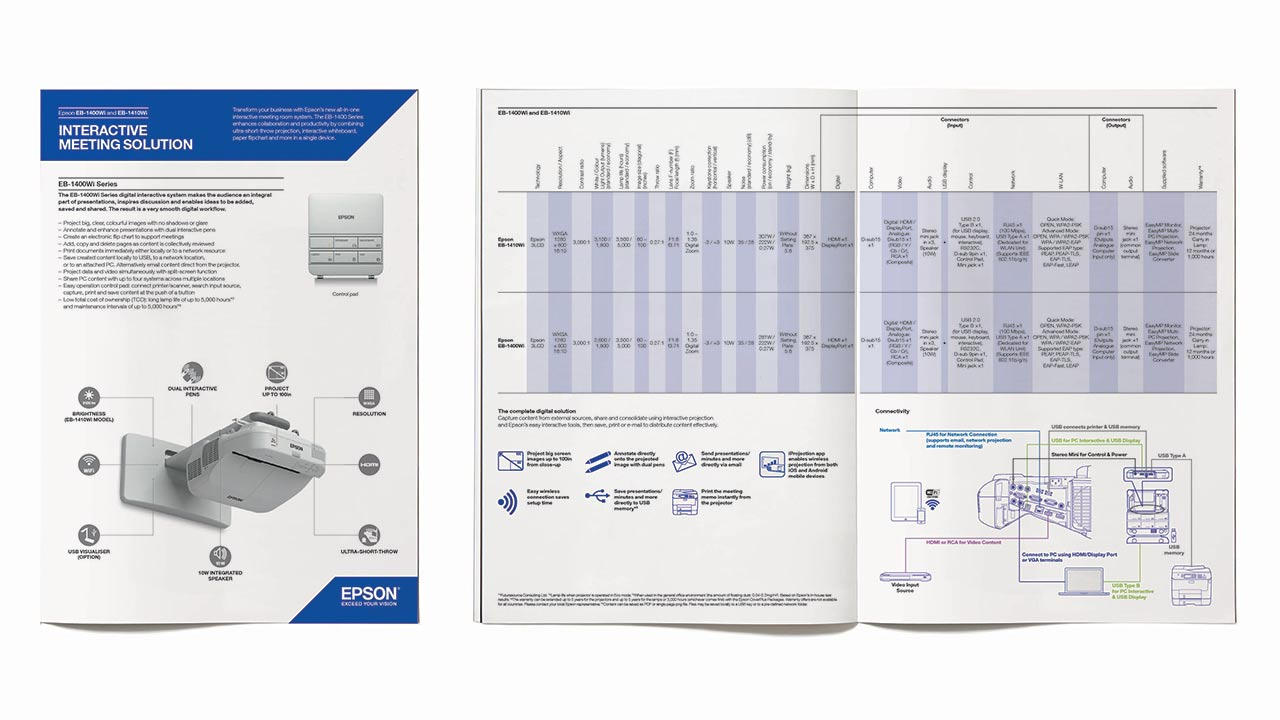 Detailed technical product literature for Epson Europe