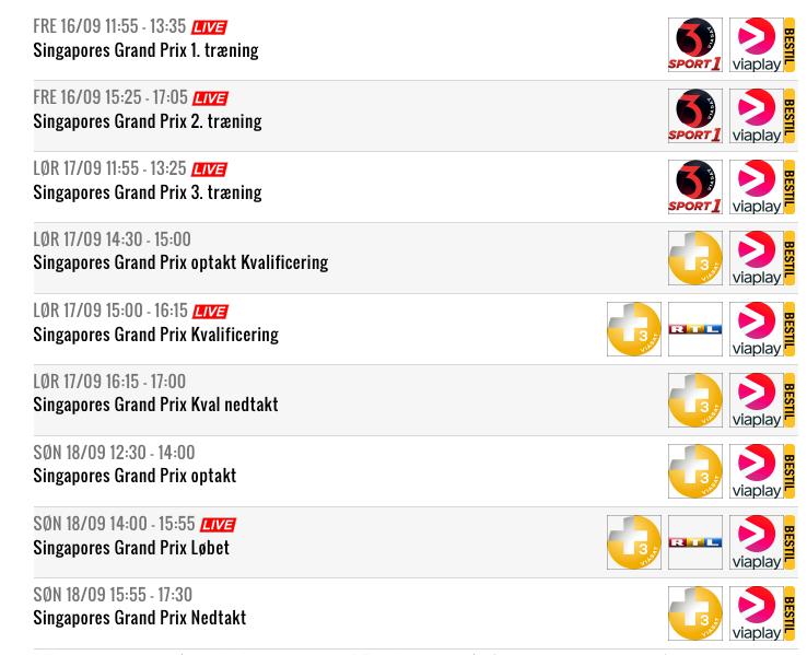 Se Singapores Formel 1 Grandprix