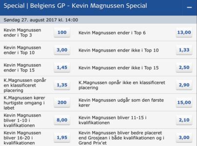 Kevin Magnussen odds: Spil på Kevin Magnussen her