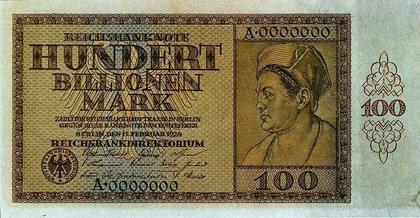 Billete de mayor valor durante la hiperinflación alemana 1924 - 1925