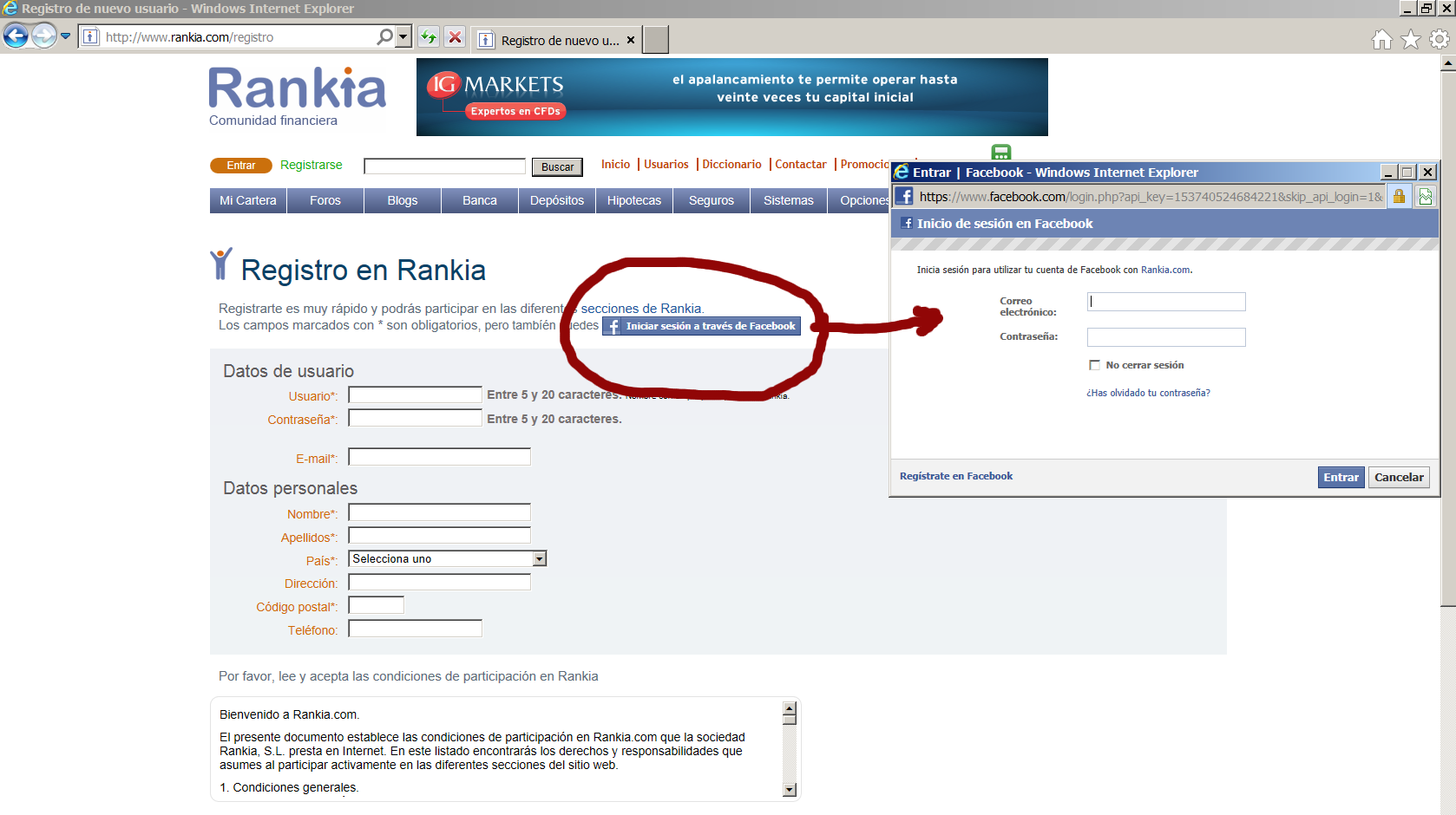 Registro de Facebook.en Rankia