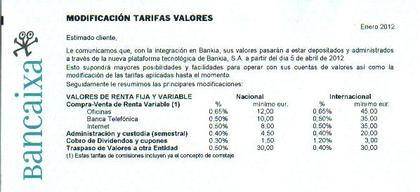Tarifas valores abril 2012