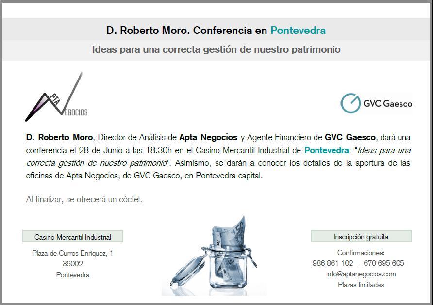 Conferencia de Roberto Moro en Pontevedra
