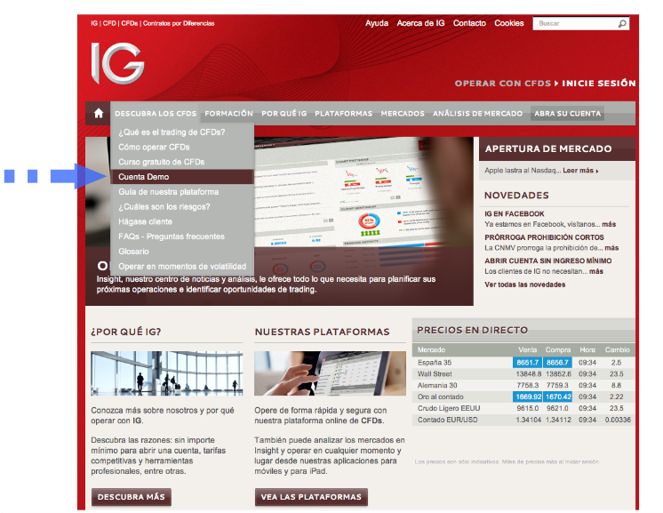 cuenta demo IG Markets