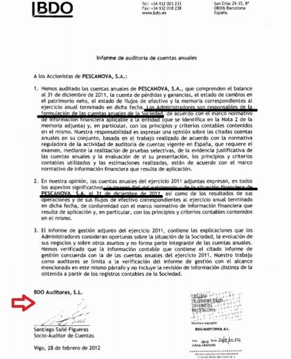 Audotoría Pescanova por BDO auditores BCN