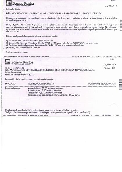 NOTIFICACIÓN NUEVAS COMISIONES BANCO PASTOR / POPULAR