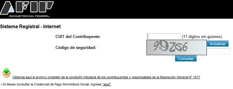Sistema de registro por Internet CUIT