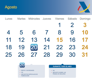 Calendario fiscal agosto 2014 col
