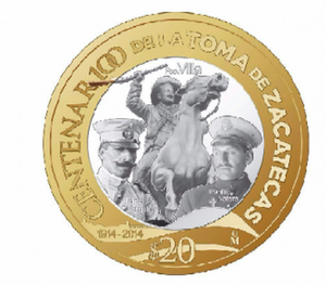 Moneda centenario toma de zacatecas col