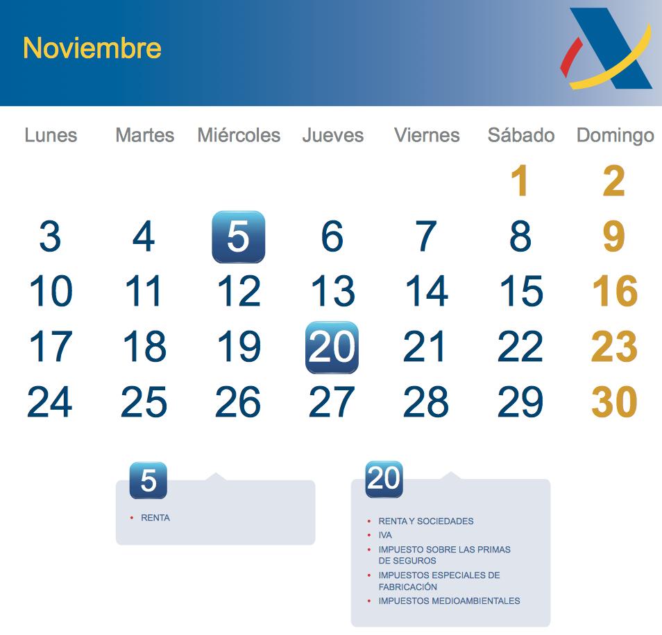 calendario fiscal noviembre 2014