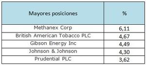 Mayores posiciones m g global dividend col