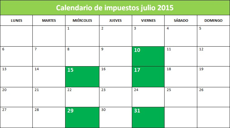 Calendario de impuestos julio 2015