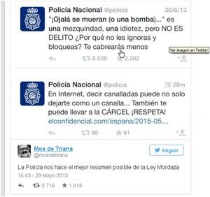 Post de moe de triana sobre delitos en internet col