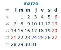 Calendario Laboral Marzo 2016