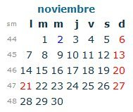 Calendario Laboral Noviembre 2016