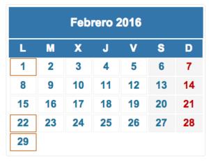 Calendario fiscal febrero 2016 col