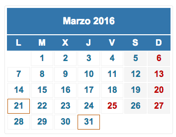 calendario fiscal marzo 2016