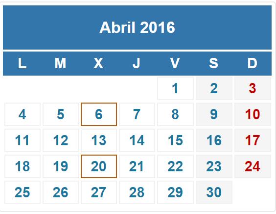 calendario fiscal abril 2016